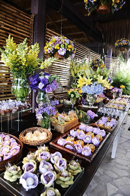 Decoração de Casamento Amarelo e Lilás  Peguei o Bouquet