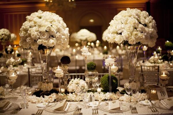 decoracao e casamento:White Wedding Table Scape